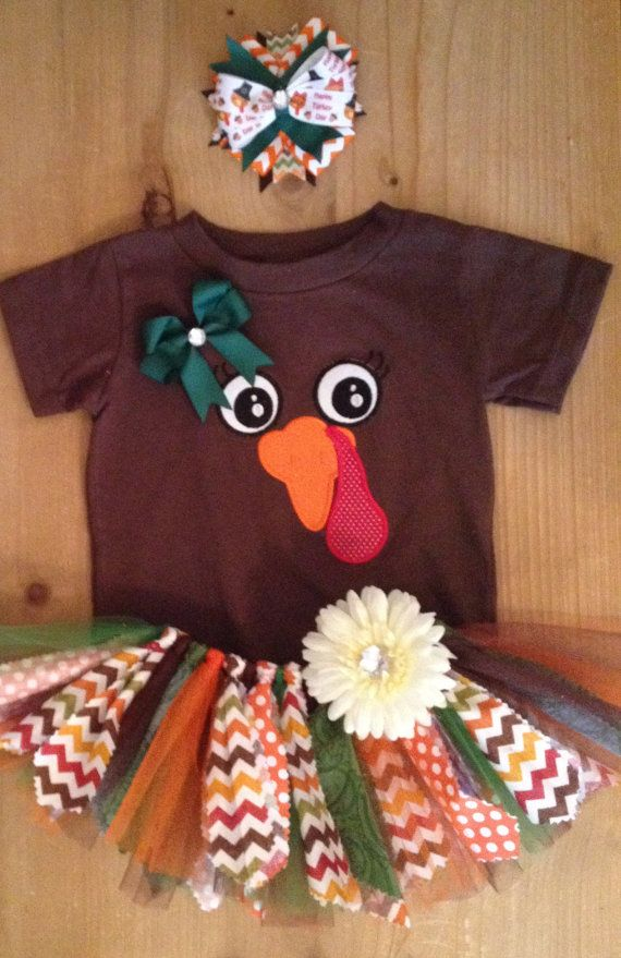 Thanksgiving Turkey Chevron Scrap Fabric Tutu Outfit on Etsy, $40.00
