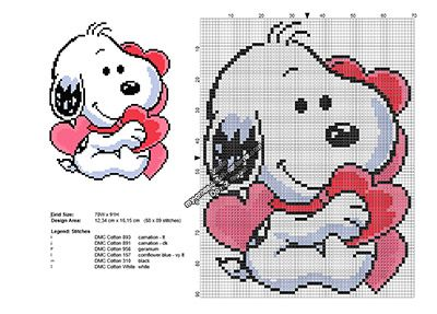 Exclusive cross stitch pattern December 2016: Snoopy Valentine's Day