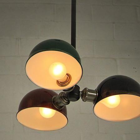 Tri-Cap Art Deco Retro Ceiling Light #art-deco #black #blue