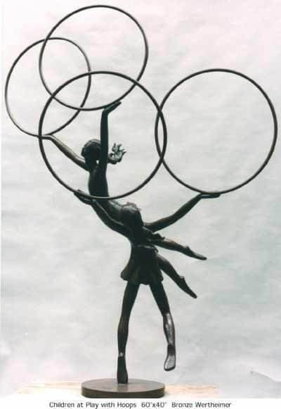 Bronze Garden Or Yard #sculpture by #sculptor Esther Wertheimer titled: 'Children at play with hoops' #art