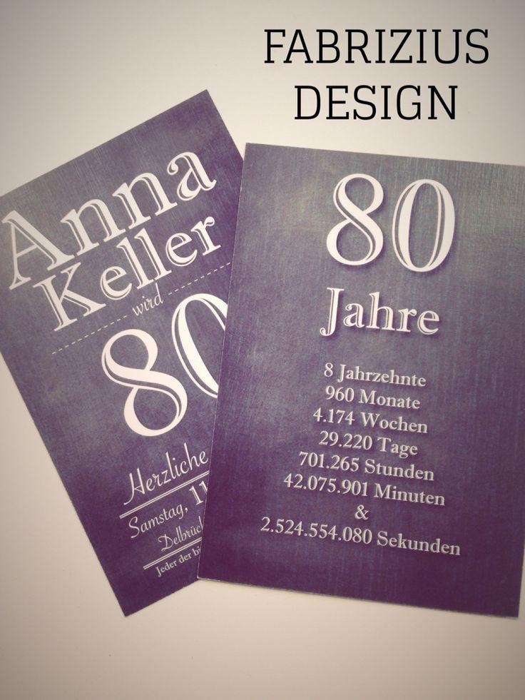 Einladung zum 80 Geburtstag.