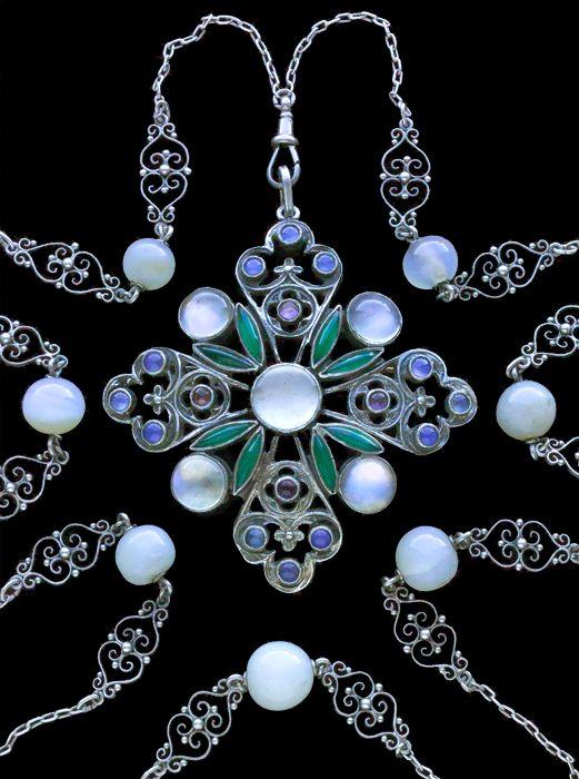 SIBYL DUNLOP 1889-1968  Arts & Crafts Pendant / Brooch   Silver Moonstone Amethyst Chalcedony  H: 7.6 cm (2.99 in) W: 6.5 cm (2.56 in)  British, c.1930