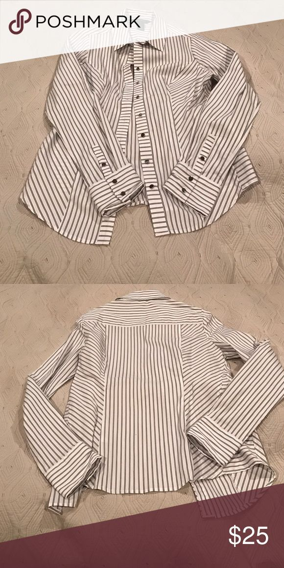 Black and white striped button down Button down women's size 4 top. White House black market brand. Never worn but don't have tags attached. White House Black Market Tops Button Down Shirts