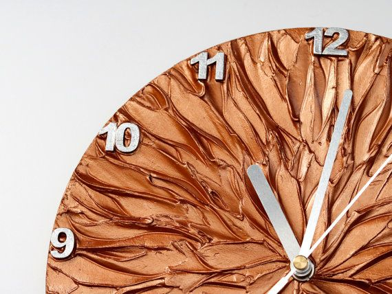 COPPER WALL CLOCK copper and silver original painting clock