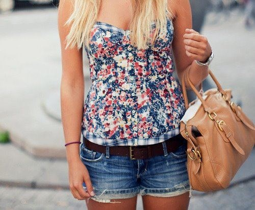 !Summer Fashion, Floral Tops, Summer Looks, Shirts, Summer Style, Cute Summer Outfit, Cute Outfit, Jeans Shorts, Summer Clothing