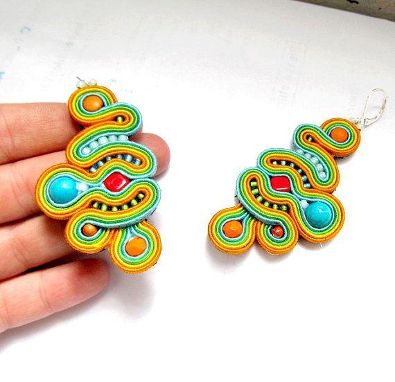 Colorful Fancy Dangle Earrings Dangle Earings by StudioGianna