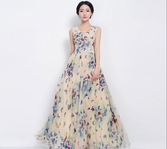 Sale bohemian blue butterfly floral a line maxi dress Wedding dress butterfly design