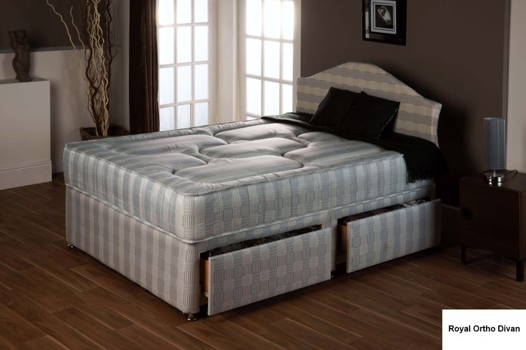 """3ft Royal Grey Ortho Divan - £319.95 - Due to the popularity of this range in the standard lengths we have now made it available in shorter lengths. Very popular for smaller rooms where a full length single bed will not fit.  The mattress is approx 9"""" deep and is upholstered with quilted layers of fillings on both sides. The spring system is an open coil ortho spring unit. A firm and supportive mattress with a well padded surface."""