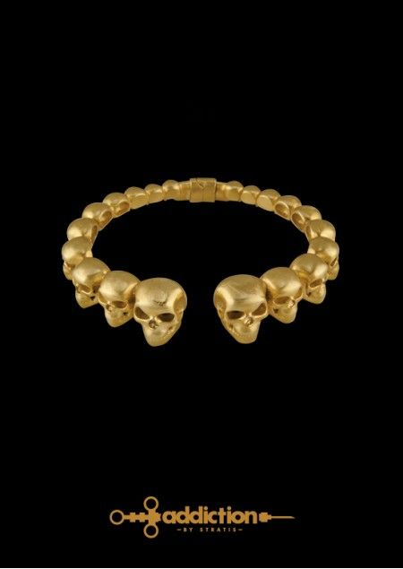 Skull Bracelet in Gold Plated Brass, depicting the outcome of drug use. Gold Plated Brass. Click to find more jewellery pins! #style #design #ideas #jewellery #addictionbystratis #voyjewellery #trends #fashion  #stratis #stratisvoyiatzis #stratisvogiatzis