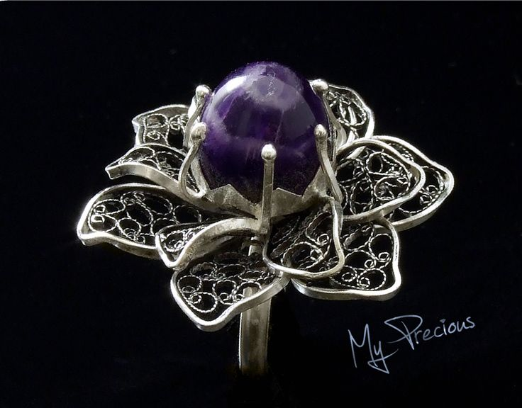 My Precious - Fine silver filigree ring with Amethyst