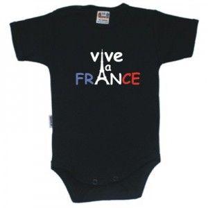 Body bébé avec inscription: VIVE LA FRANCE (8 coloris disponibles)