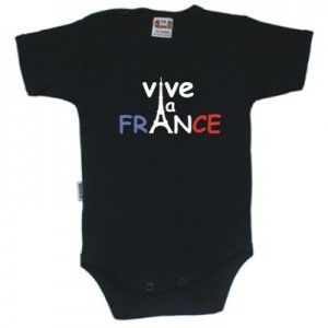 Body bébé avec inscription: VIVE LA FRANCE (8 coloris disponibles)