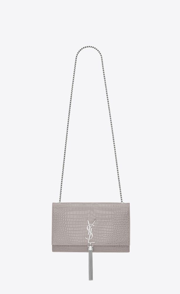 SAINT LAURENT MONOGRAM KATE WITH TASSEL Woman Medium KATE tassel chain bag  in mouse-gray crocodile embossed shiny leather a V4 2c0e5f7d3c587