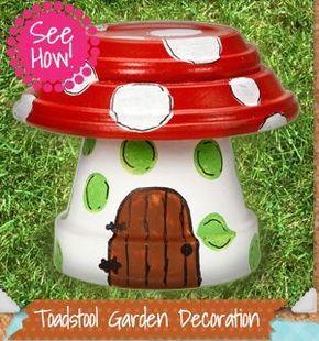 Basteln einfach & basteln mit Kindern. DIY Idee zum Selbermachen. Garten Deko Fliegenpilz aus Blumentöpfen. Toadstool Garden Decoration