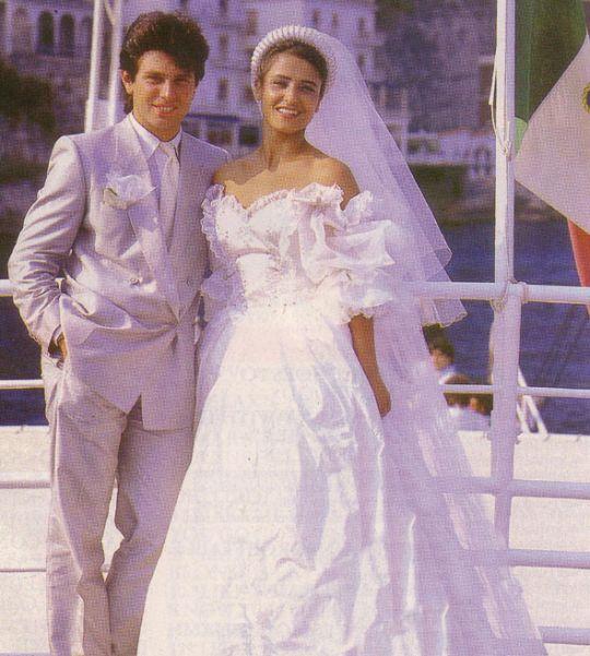 Roger and Giovanna Taylor on their own wedding. Wild Boys Era, 1984.