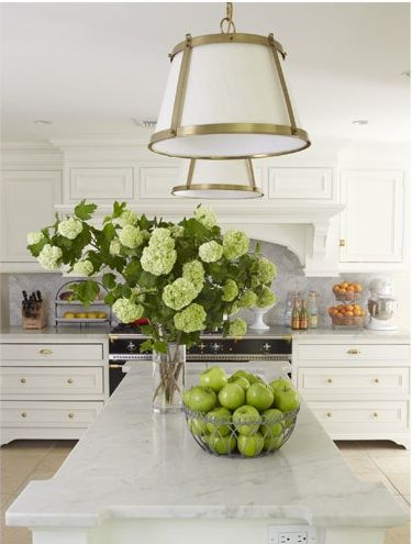 White Kitchen With Pops Of Green. Love The Marble Island Counter Top. Part 46