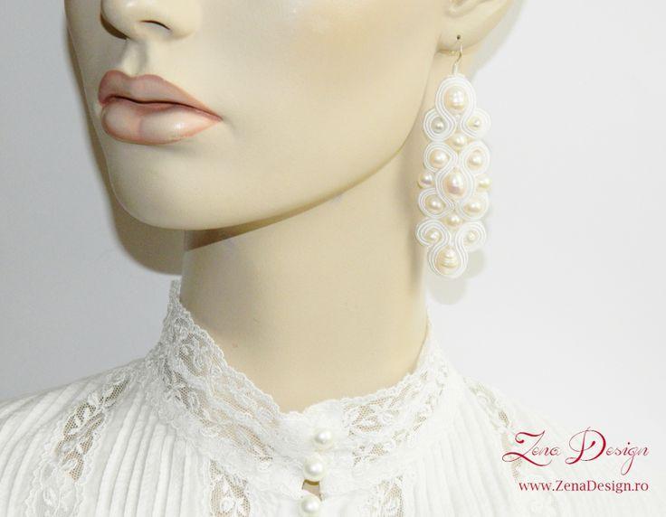 Soutache earrings, Bride earrings, white earrings – Zena Design