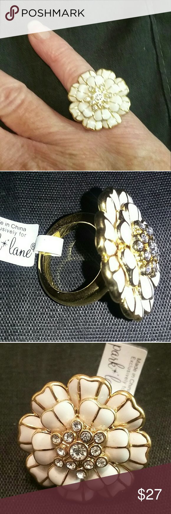 Park Lane 'Aubrey' Ring Austrian crystal-embellished white and gold enameled flower. Park Lane Jewelry