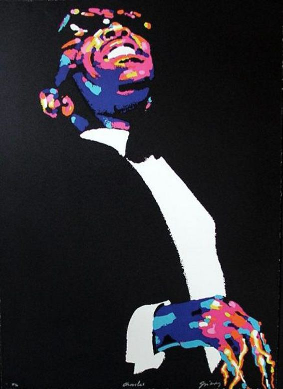 Waldemar Świerzy, poster artwork for Jazz Greats, 1990s. Miles, Charles, Dizzie and Thelonius. Source 1+2