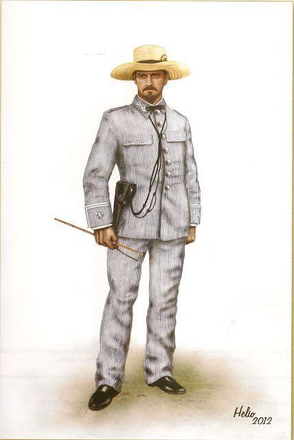 Uniforme de rayadillo en Cuba, 1876.