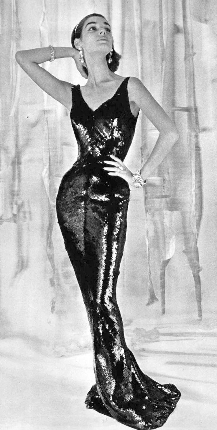 Jacky Mazel in fluid black sequined gown with plunging back by Pierre Balmain, photo by Pottier, 1955