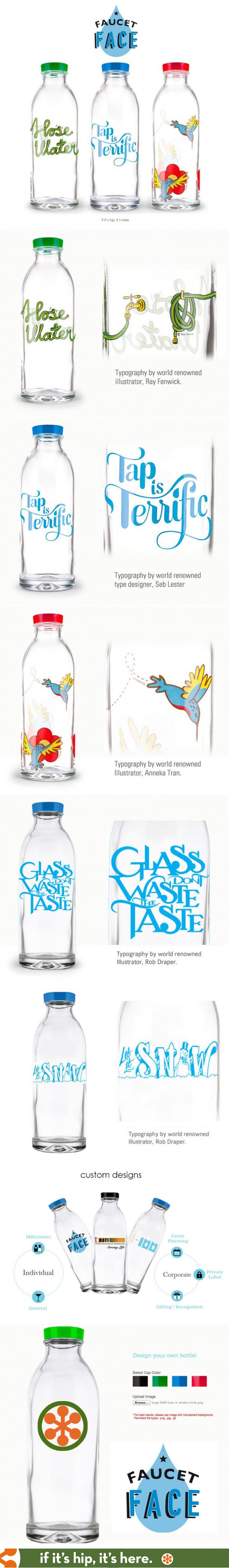 Reusable glass water bottles with typographic or illustrated designs give back to charity. You can also make your own! http://www.ifitshipitshere.com/glass-bottles-give-back-faucet-face/