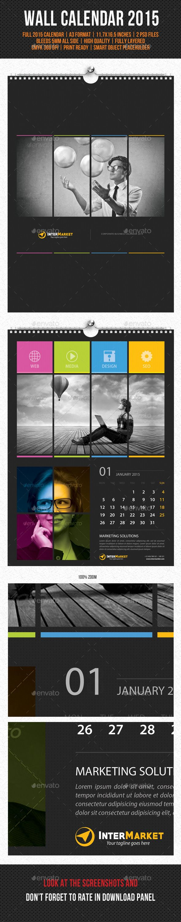 Corporate Wall Calendar 2015 Template | Buy and Download: http://graphicriver.net/item/corporate-wall-calendar-2015-v04/9791401?ref=ksioks