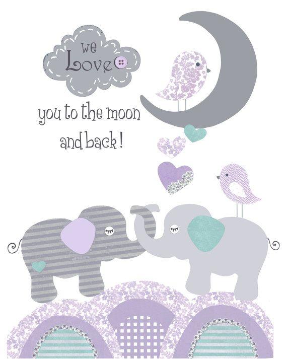 Purple teal nursery baby elephant print First by PeanutAndButtons