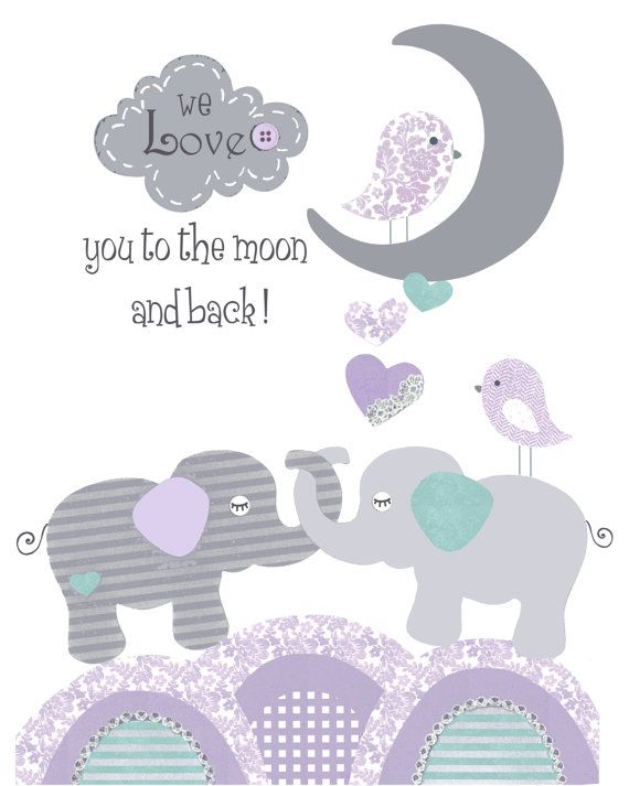 Purple teal nursery baby elephant print First by PeanutAndButtons