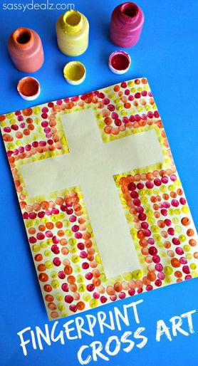 Easy Fingerprint Cross Activity for Kids #Easter craft #Religious art project | CraftyMorning.com