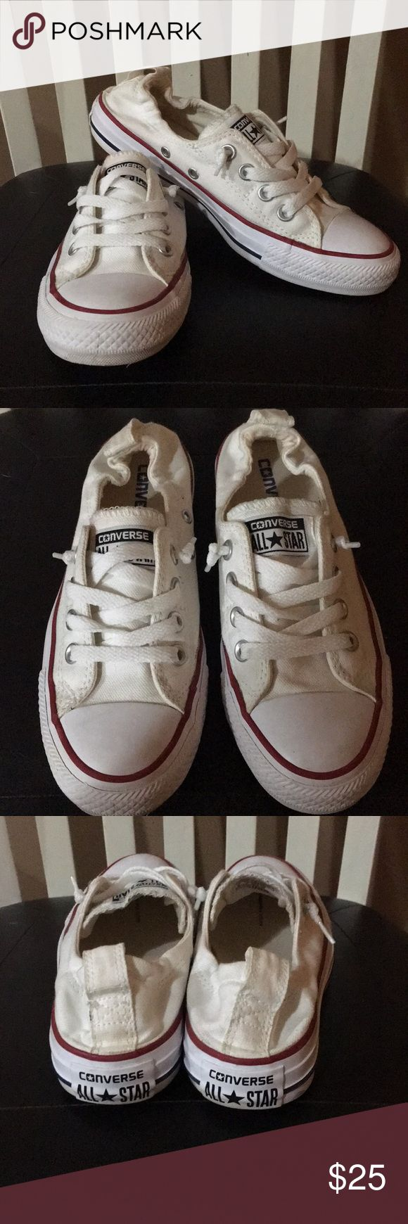 Ladies Converse All Star shoes Ladies Converse All Star slip on tennis shoes. White with red and blue stripes. Have only worn a couple of times. Converse Shoes Sneakers