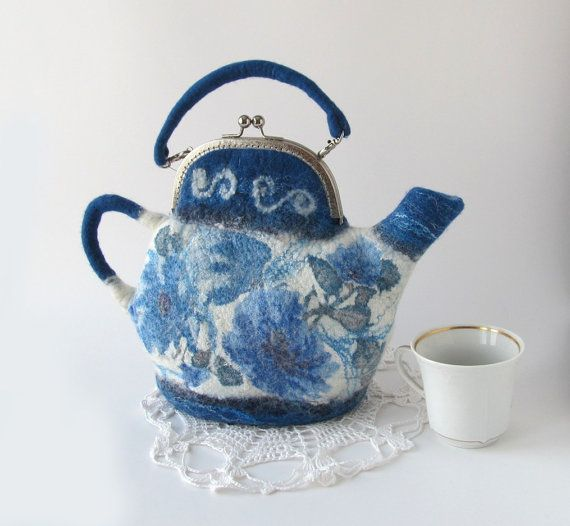 Felted teapot  purse Blue white handbag by galafilc on Etsy, $67.00