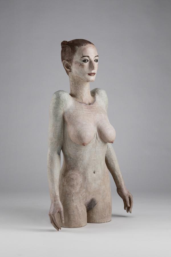 Katsura Funakoshi Am I floating? 2011 painted camphor wood and marble 103.5 x 59 x 32 cm ref:KF0090