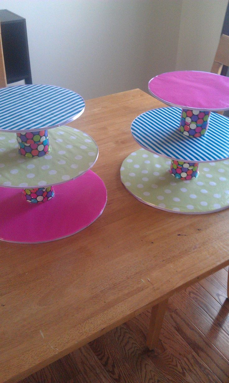 Scrapbook paper dollar general - Cupcake Stands Using Cake Circles Wrapping Paper Duct Tape Soup Cans And Ribbon