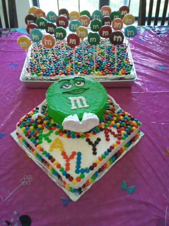 m & m Birthday cake and cakepops