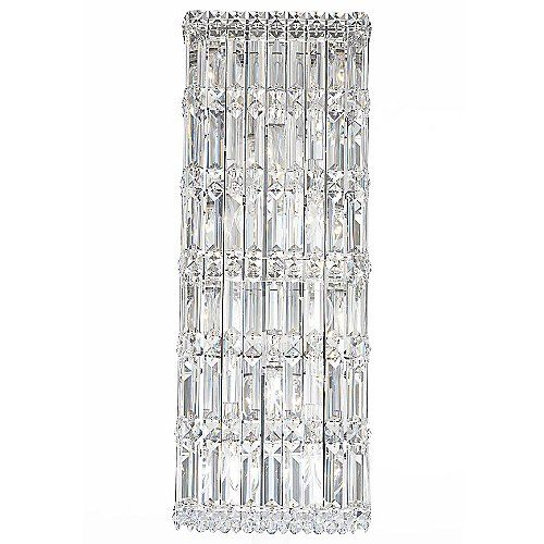 In modern interiors, the Schonbek Lighting Quantum 2232 Wall Sconce easily adds a wide breadth of dramatic sparkle. The tall rectangular shade features a dense configuration of multi-faceted Swarovski crystals. Their unequaled brilliance is further complemented by the gleaming Stainless Steel finish on the base. Available in several crystal colors.
