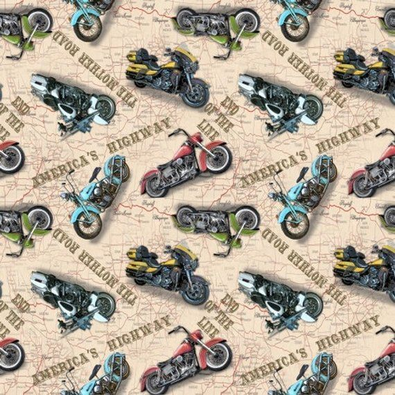 America Motor Cycle Black and White Fabric by Timeless Treasures