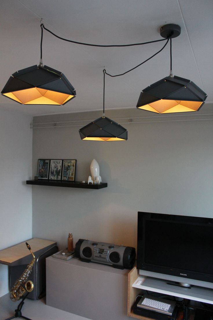 Three Solid Lampshades by Romy Kühne Design in the color Iron grey