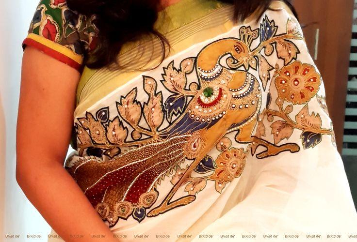 Pen Kalamkari kerala saree  Brʌɪd de'    Paarvati Kiriyath Bharath