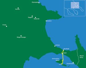 Xerxes' route From N.Roda to Trypiti port-Xerxes Canal