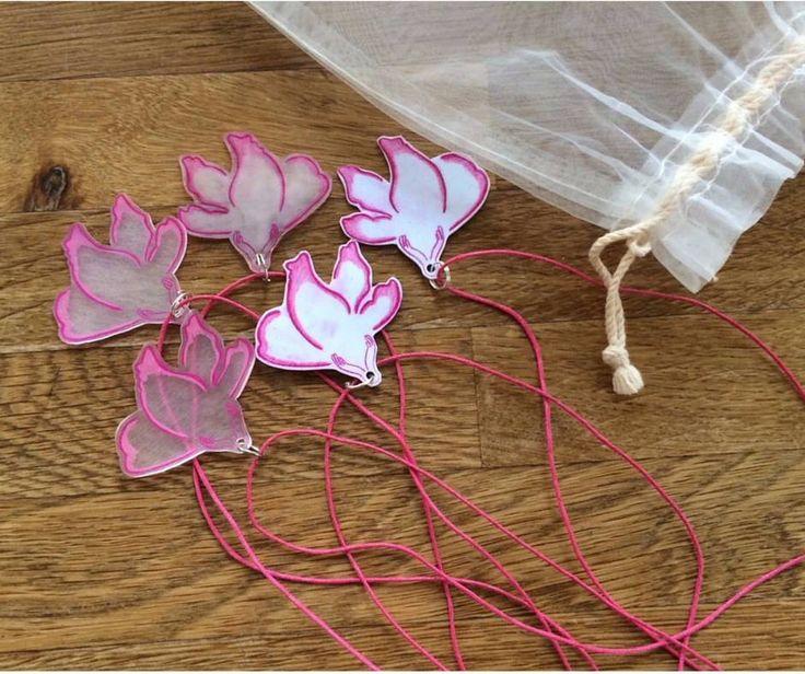 DIY, mallow flower, necklace, mauve