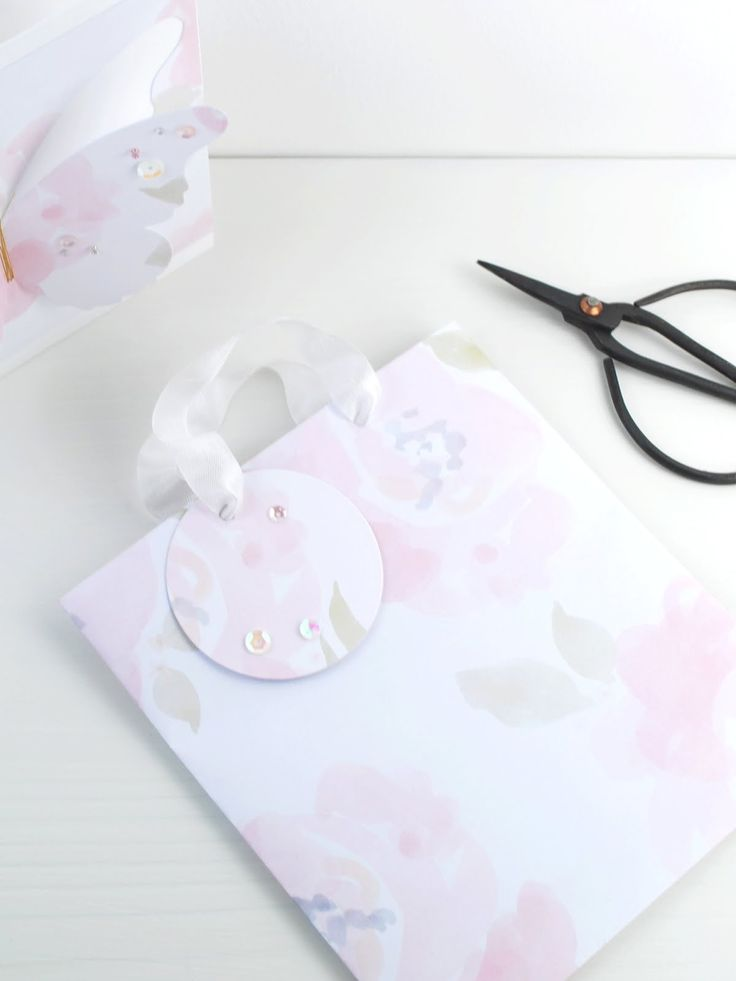 Simple Paper Gift Bag made with 'Blush Rose' paper from the 'Molly Rose' Collection at The Lovely Studio.
