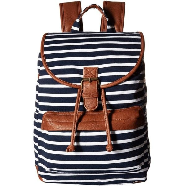 Madden Girl Bbench Backpack (Navy/White Jersey Stripe) Backpack Bags ($25) ❤ liked on Polyvore featuring bags, backpacks, navy, cotton backpack, madden girl backpack, cotton jersey, draw string backpack and striped backpack
