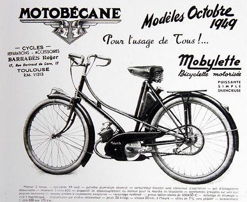 Mobylette-AV3-1949-moteur-monocylindre-2temps-graissage-par-melange-cylindre-aluminium-chemisé-éclairage et allumage par volant-magnétique,carburateur étanche avec silencieux, commandes à poignée tournante,pneus ballons 600 x 50, 28kg, 30 kmh, consomation 1,2 litre au 100km,vitesse-30kmh-cote-de-7%-sans-pédaler-Motobecane-Pantin-Paris-France-Europe.