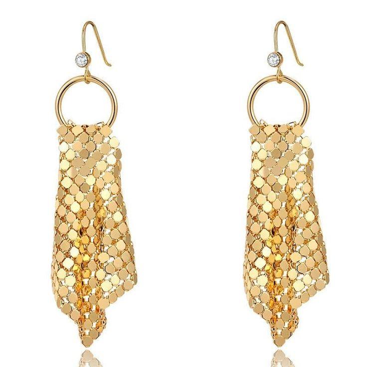 Fashion Drop Earrings - Zachary Trendy Style Gold Plated Drop Earrings