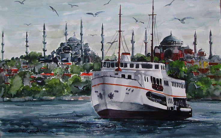 CELAL GÜNAYDIN Türkish Artist Painter  Watercolor - Suluboya