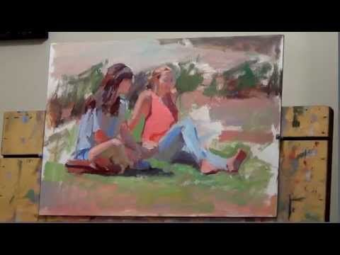 """Enjoying the summer sun"", 8 min. ""alla prima"" oil painting demo by Lena Rivo - YouTube"