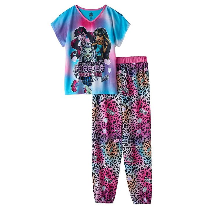 Girls 6-16 Monster High Draculaura, Cleo De Nile & Frankie Stein Pajama Set, Girl's, Size: 7-8, Ovrfl Oth