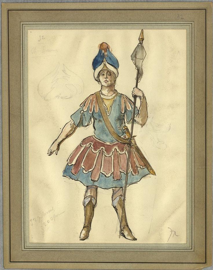 """Costume design (1918), by Jacques Drésa (1869-1929), for """"Castor et Pollux"""" (1737), by Jean-Philippe Rameau (1683-1764)."""
