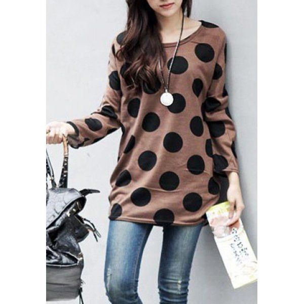 Casual Scoop Collar Polka Dot Print Loose Long Sleeve Women's T-Shirt